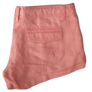 CORAL LINEN SHORTS TIE WAIST SIZE SMALL-LOW WAIST